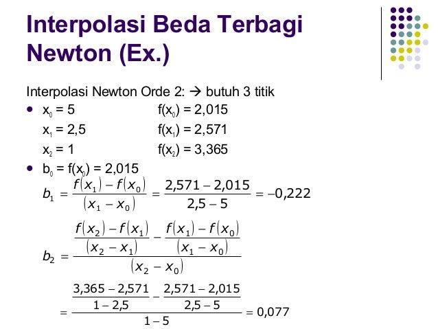 Interpolasi Beda Terbagi Newton (Ex.)  f (x) 2  = b0 + b1(x-x0) + b2(x-x0)(x-x1) = 2,015 + (-0,222) (4-5) + 0,077 (4-5)(4...