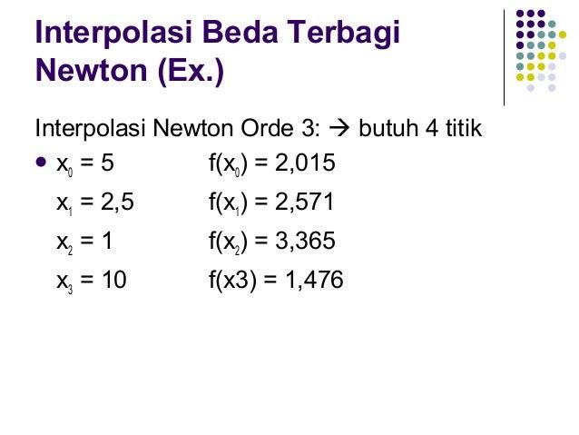 Interpolasi Beda Terbagi Newton (Ex.)   b0 = f(x0) = 2,015 b1 = -0,222 → f[x1,x0] b2 = 0,077 → f[x2,x1,x0] 1,476 − 3,365 ...
