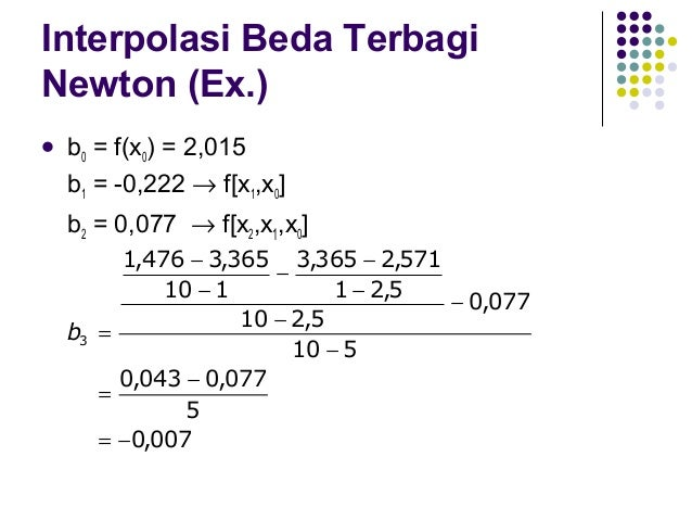 Interpolasi Beda Terbagi Newton (Ex.)  f (x) 3  = b0 + b1(x-x0) + b2(x-x0)(x-x1) + b3(x-x0)(x-x1)(x-x2) = 2,015 + (-0,222...
