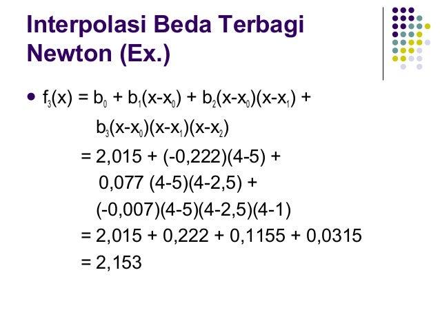 Kesalahan Interpolasi Beda Terbagi Newton R  n  =  f[xn+1,xn,xn-1,…,x0](x-x0)(x-x1)…(x-xn)    Menghitung  R1  Perlu 3 ti...