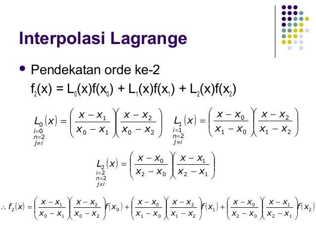 Interpolasi Lagrange  Pendekatan  orde ke-3  f3(x) = L0(x)f(x0) + L1(x)f(x1) + L2(x)f(x2) + L3(x)f(x3)  x − x1  x − x2...