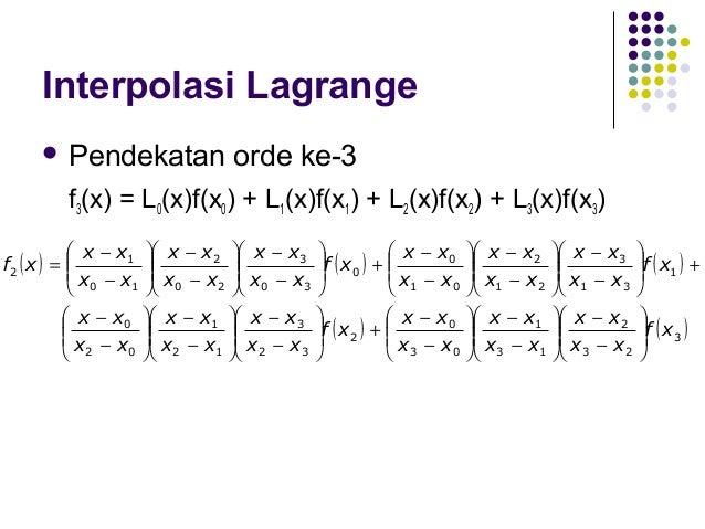 Interpolasi Lagrange (Ex.) nilai distribusi t pada α = 4 %? α = 2,5 % → x0 = 2,5 → f(x0) = 2,571   Berapa  α=5%  → x1 = 5...