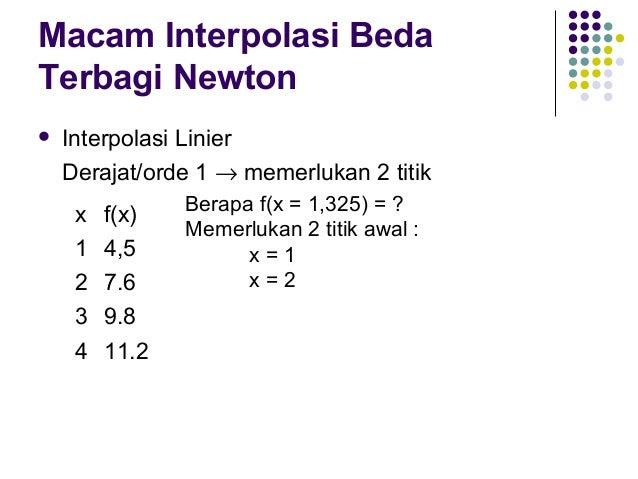 Macam Interpolasi Beda Terbagi Newton   Interpolasi Linier Derajat/orde 1 → memerlukan 2 titik x 1 2 3 4  f(x) 4,5 7.6 9....