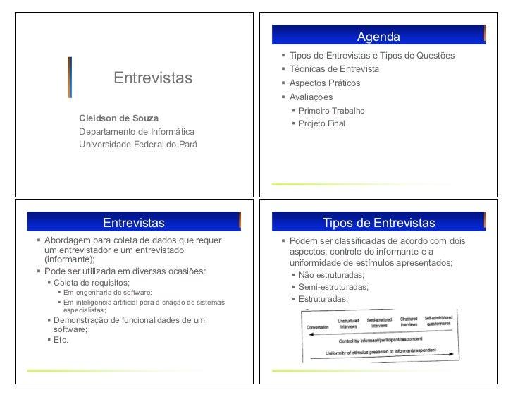 Agenda                                                              ! Tipos de Entrevistas e Tipos de Questões            ...