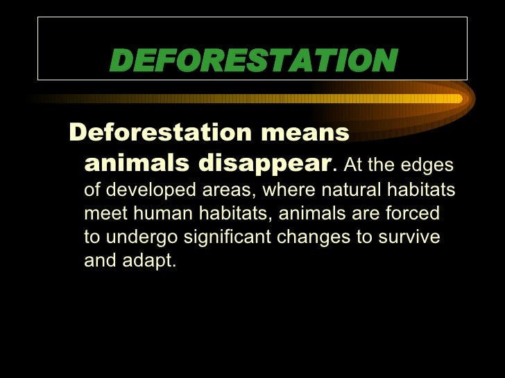 DEFORESTATION <ul><ul><li>Deforestation means animals disappear .  At the edges of developed areas, where natural habitats...
