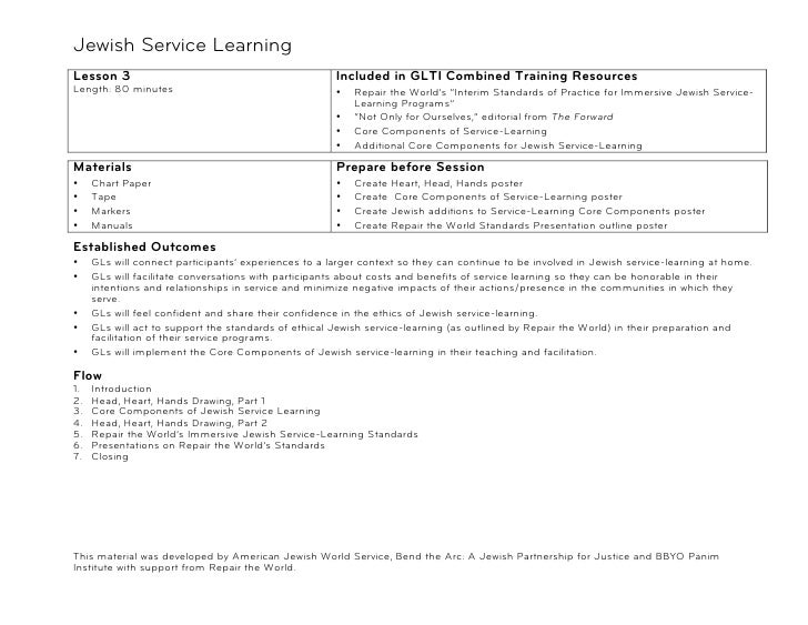 Jewish Service Learning!Lesson 3                                              Included in GLTI Combined Training Resources...