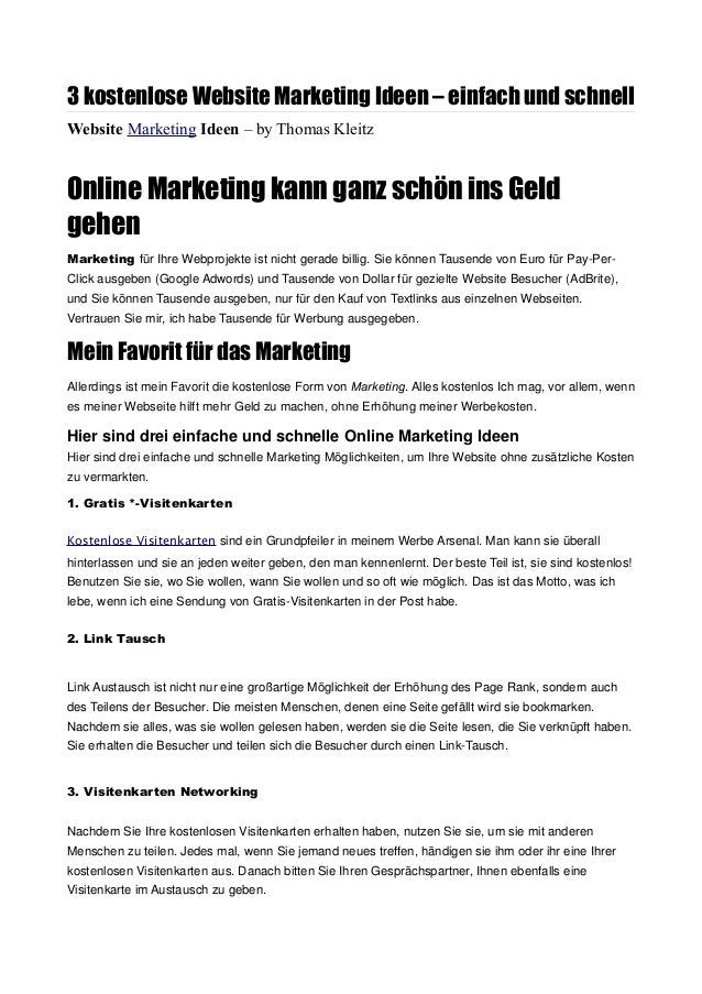 3 Kostenlose Marketing Ideen