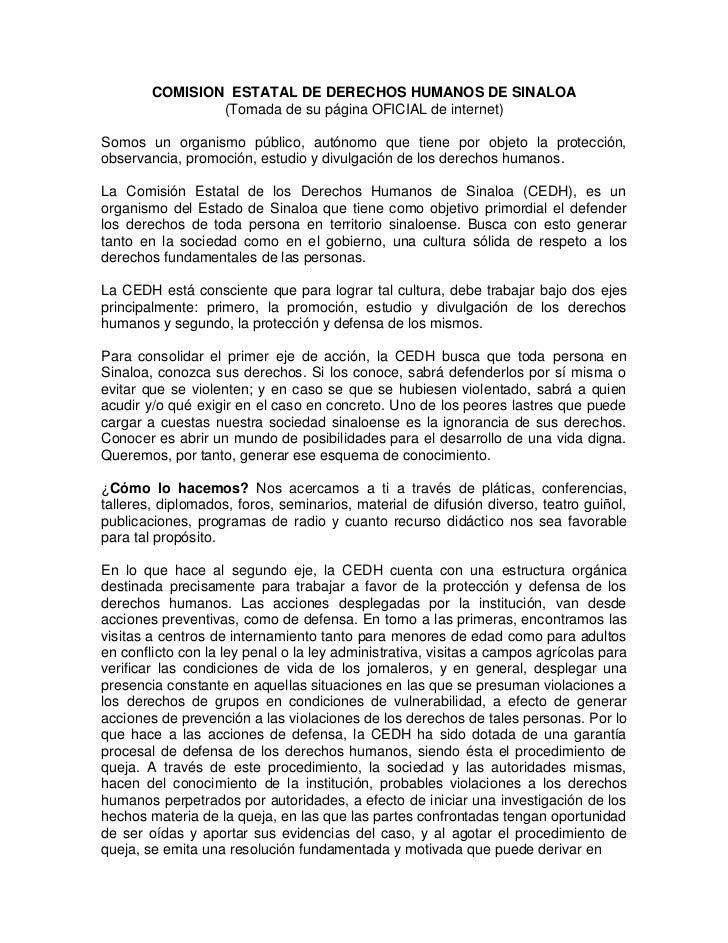 COMISION ESTATAL DE DERECHOS HUMANOS DE SINALOA                (Tomada de su página OFICIAL de internet)Somos un organismo...