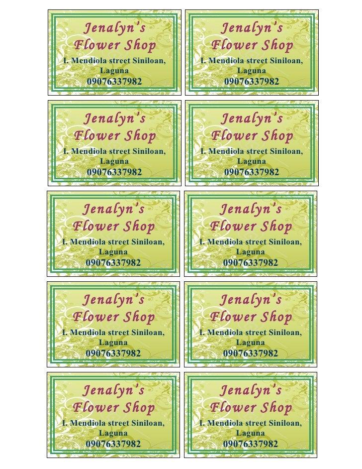 Jenalyn's                      Jenalyn's   Flower Shop                    Flower Shop I. Mendiola street Siniloan,   I. Me...