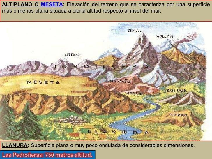 ALTIPLANO O  MESETA :  Elevación del terreno que se caracteriza por una superficie más o menos plana situada a cierta alti...