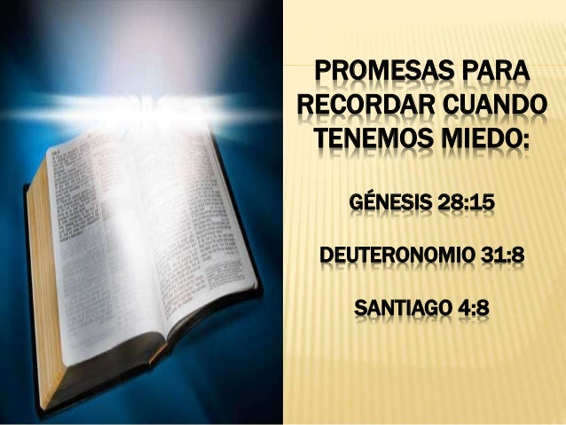 PROMESAS PARA RECORDAR CUANDO TENEMOS MIEDO: G�NESIS 28:15 DEUTERONOMIO 31:8 SANTIAGO 4:8