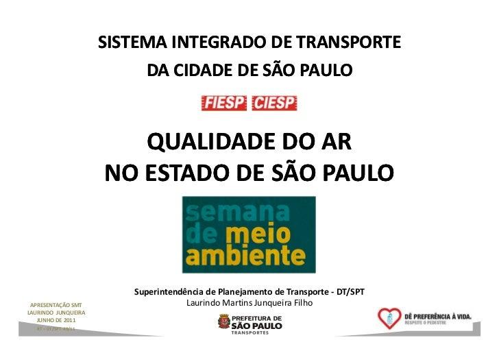 SISTEMA INTEGRADO DE TRANSPORTE                            DA CIDADE DE SÃO PAULO                          QUALIDADE DO AR...
