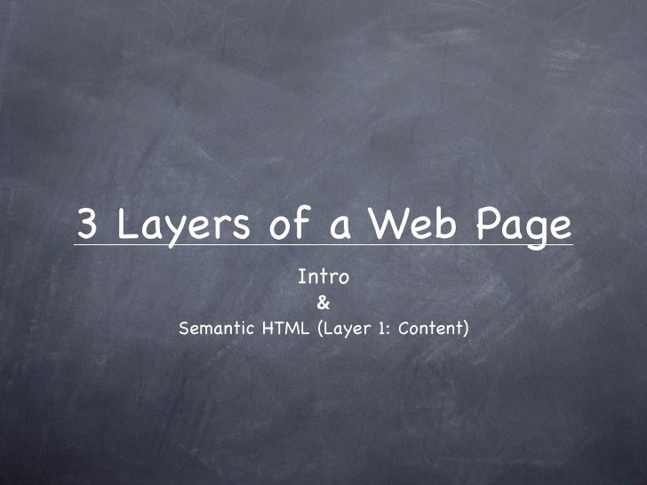 3 Layers of a Web Page                  Intro                   &     Semantic HTML (Layer 1: Content)