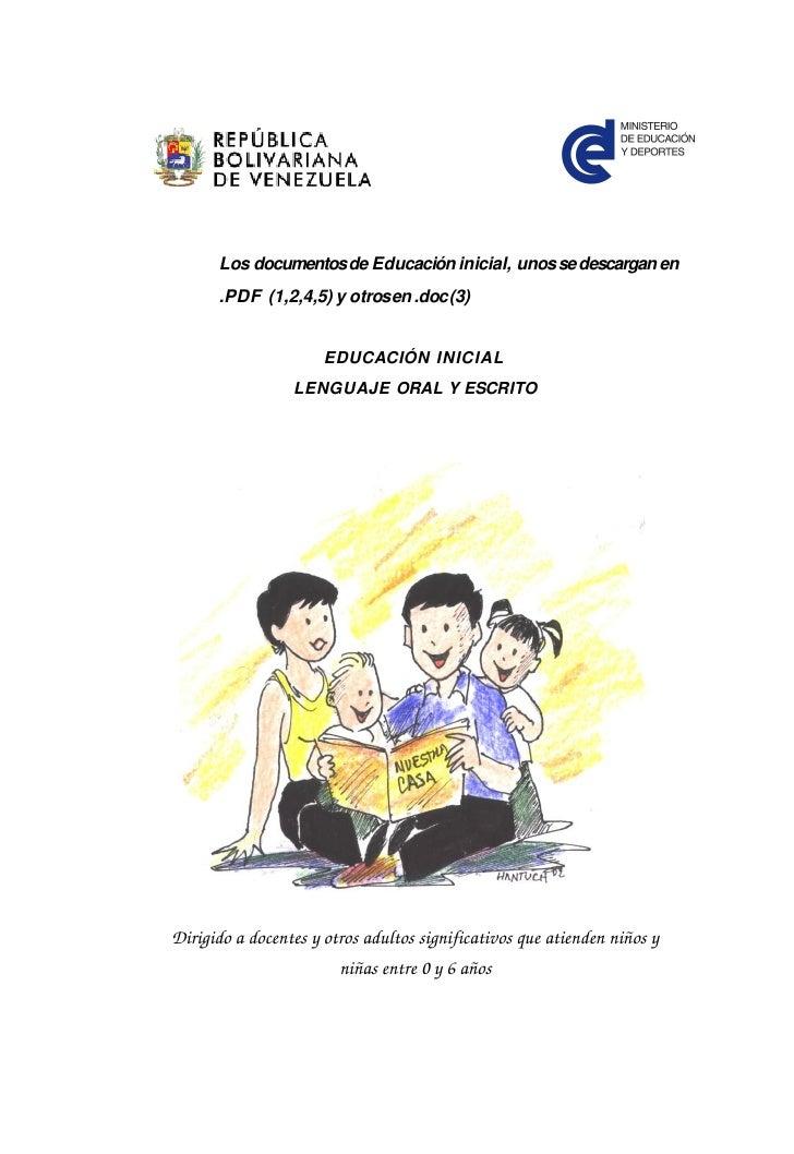 Los documentos de Educación inicial, unos se descargan en      .PDF (1,2,4,5) y otros en .doc (3)                      EDU...