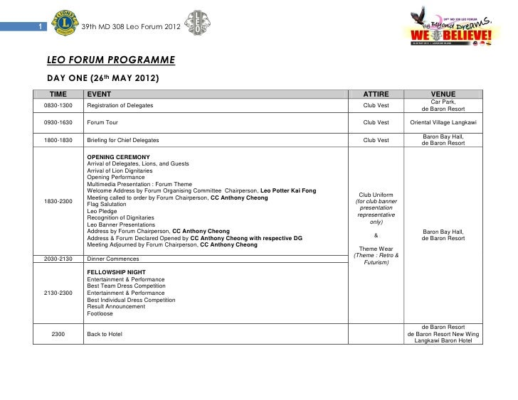 1               39th MD 308 Leo Forum 2012    LEO FORUM PROGRAMME    DAY ONE (26th MAY 2012)     TIME        EVENT        ...