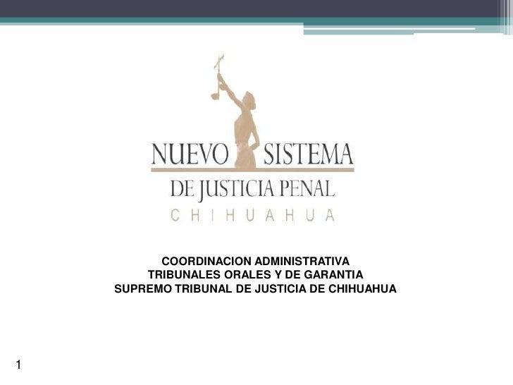 COORDINACION ADMINISTRATIVA         TRIBUNALES ORALES Y DE GARANTIA     SUPREMO TRIBUNAL DE JUSTICIA DE CHIHUAHUA     1