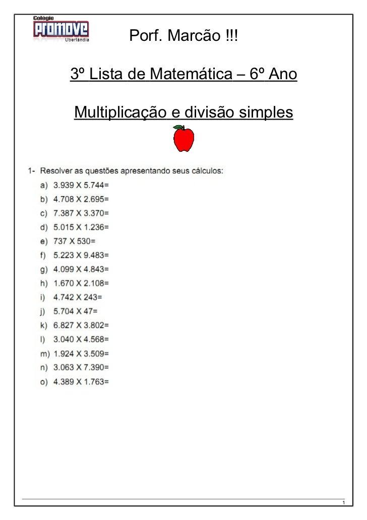 3 Lista 6 Ano Multiplicacao E Divisao Simples
