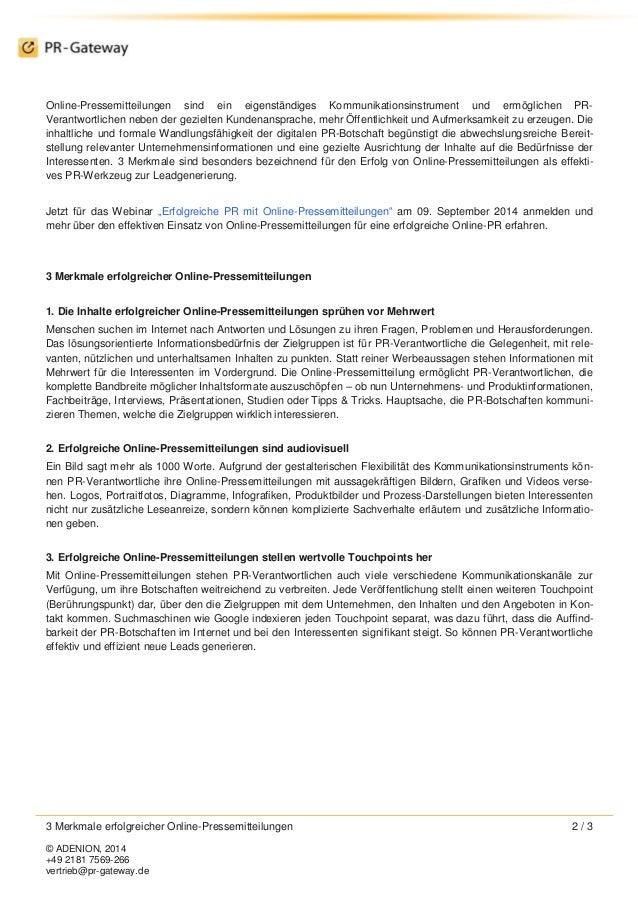 3 Merkmale erfolgreicher Online-Pressemitteilungen 2 / 3  © ADENION, 2014  +49 2181 7569-266  vertrieb@pr-gateway.de  Onli...