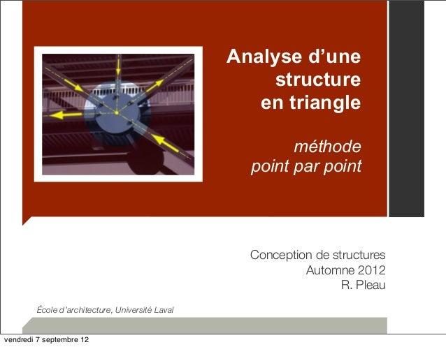 Analyse d'une  structure  en triangle  méthode  point par point  Conception de structures  Automne 2012  R. Pleau  École d...