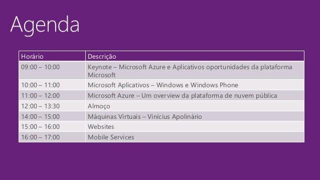 Horário Descrição 09:00 – 10:00 Keynote – Microsoft Azure e Aplicativos oportunidades da plataforma Microsoft 10:00 – 11:0...