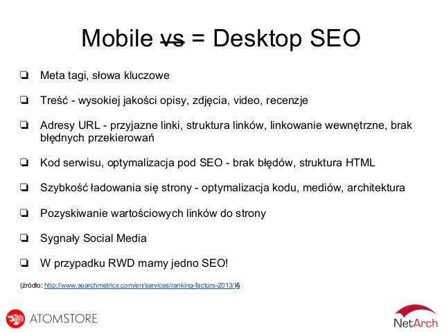 Mobile vs = Desktop SEO ❏ Meta tagi, słowa kluczowe ❏ Treść - wysokiej jakości opisy, zdjęcia, video, recenzje ❏ Adresy UR...