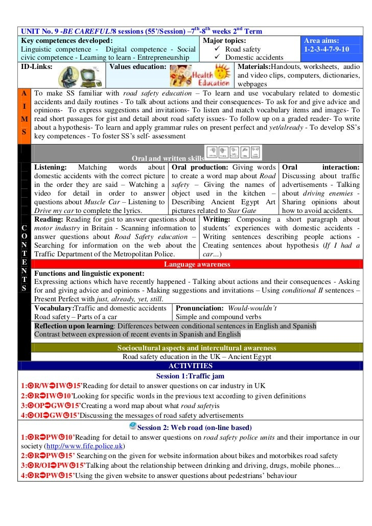 UNIT No. 9 -BE CAREFUL!8 sessions (55'/Session) –7th-8th weeks 2nd TermKey competences developed:                         ...