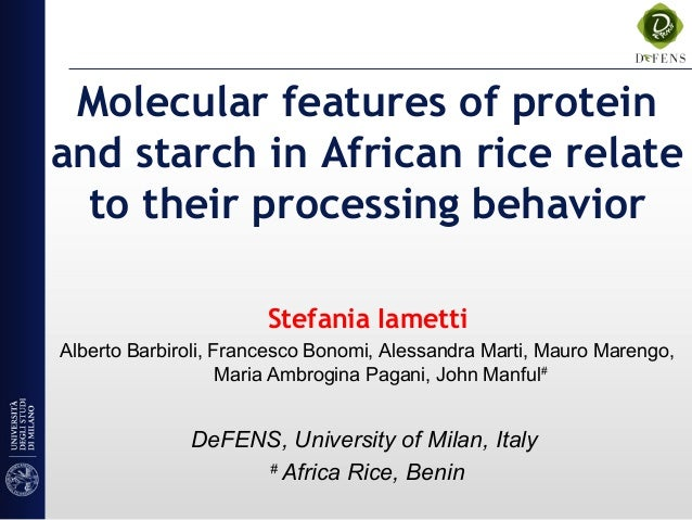 Molecular features of protein and starch in African rice relate to their processing behavior Stefania Iametti Alberto Barb...