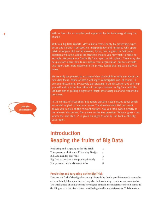 Big data research privacy technology and the law - Report 3-4 on Big …