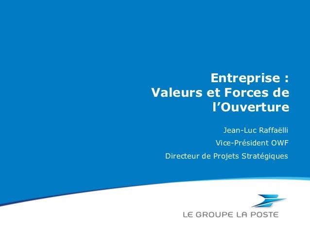 Entreprise :Valeurs et Forces de         l'Ouverture                 Jean-Luc Raffaëlli               Vice-Président OWF  ...