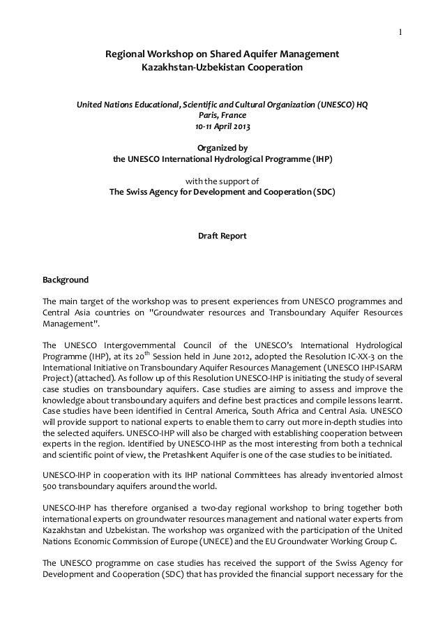 1  RegionalWorkshoponSharedAquiferManagement Kazakhstan‐UzbekistanCooperation   UnitedNationsEducational,Scien...