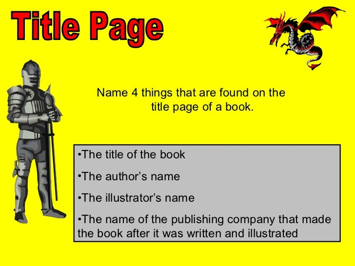 Parts of a Book--Knight Story