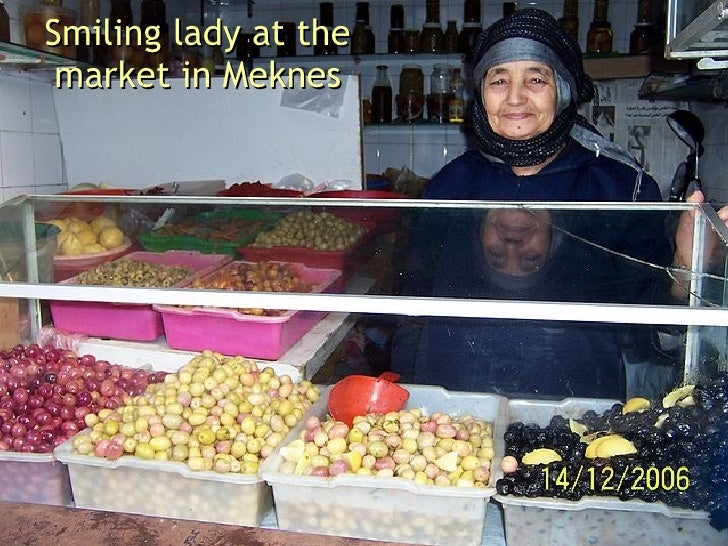 Smiling lady at the market in Meknes