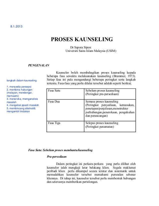 8.1.2013                                 PROSES KAUNSELING                                               Dr Sapora Sipon  ...