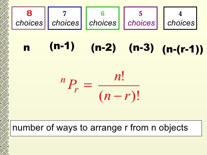 8 choices 7 choices 6 choices 5 choices 4 choices number of ways to arrange r from n objects  n (n-1) (n-2) (n-3) (n-(r-1))