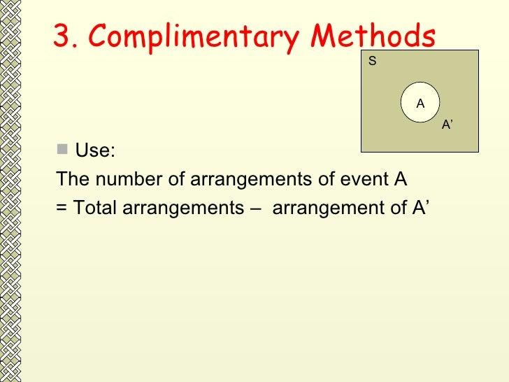 3. Complimentary Methods <ul><li>Use: </li></ul><ul><li>The number of arrangements of event A  </li></ul><ul><li>= Total a...