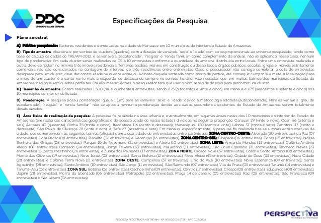 PESQUISA REGISTRADA NO TRE/AM - Nº 00012/2014 E TSE - Nº 00126/2014 Especificações da Pesquisa A) Público pesquisado: Elei...