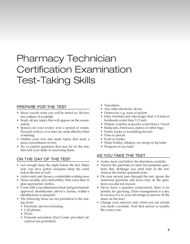 3 -- pharmacy technician certification examination test-taking skills