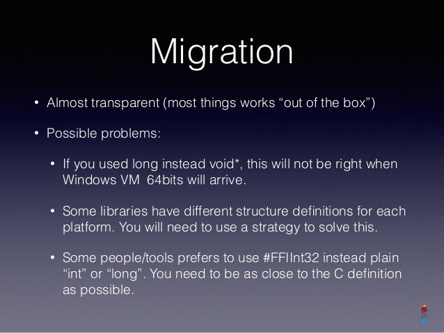 """Libraries currently supported • All FFI functions in Pharo """"just works"""" • Athens • SDL2 • libgit2: partially, to be finishe..."""