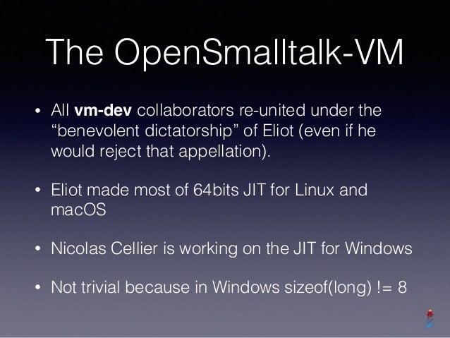 "The OpenSmalltalk-VM • All vm-dev collaborators re-united under the ""benevolent dictatorship"" of Eliot (even if he would r..."