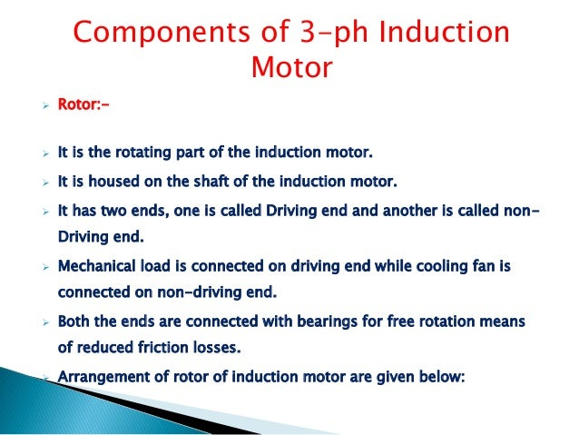 3 ph induction motor ppt for Drive end and non drive end of motor