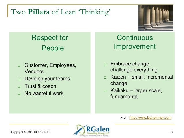 Two Pillars of Lean 'Thinking'  Respect for  People   Customer, Employees,  Vendors…   Develop your teams   Trust & coa...