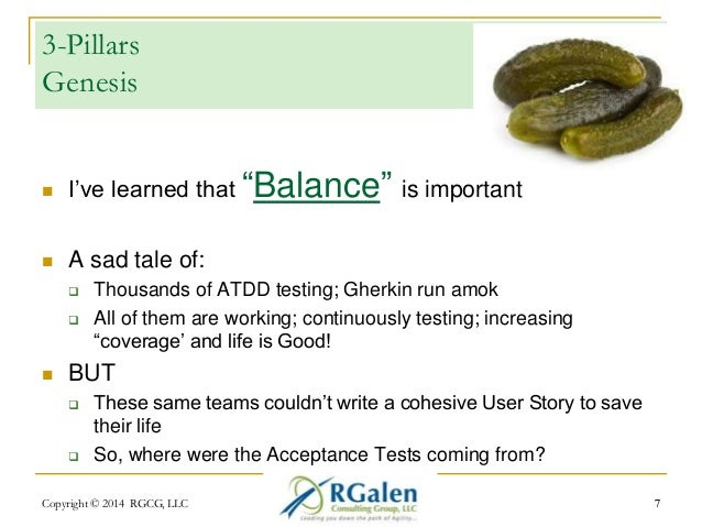 """3-Pillars  Genesis   I've learned that """"Balance"""" is important   A sad tale of:   Thousands of ATDD testing; Gherkin run..."""