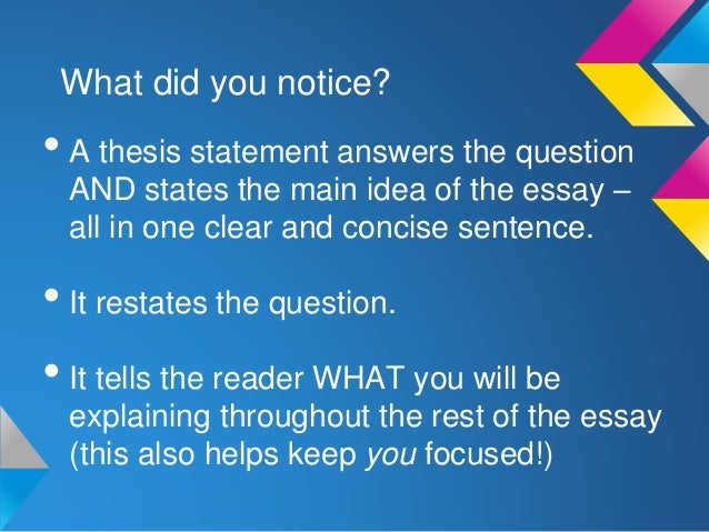 writing a point thesis statement