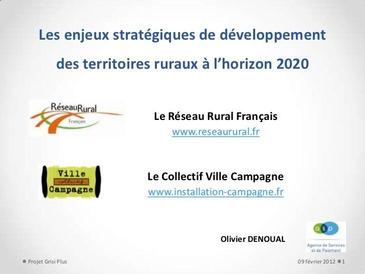 Les enjeux stratégiques de développement            des territoires ruraux à l'horizon 2020                           Le R...