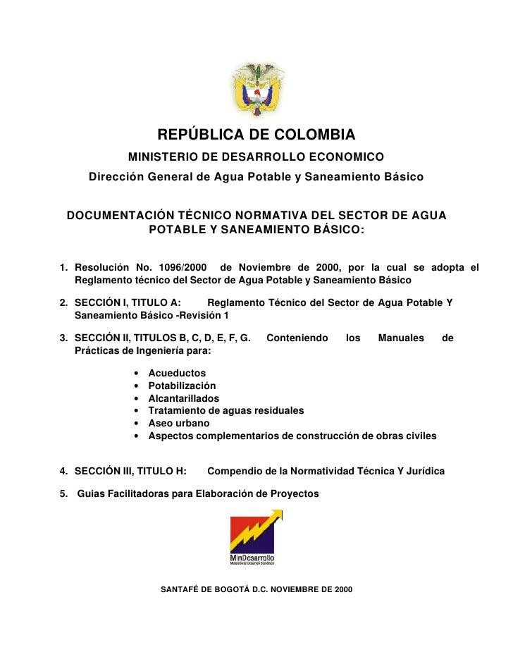 REPÚBLICA DE COLOMBIA              MINISTERIO DE DESARROLLO ECONOMICO      Dirección General de Agua Potable y Saneamiento...