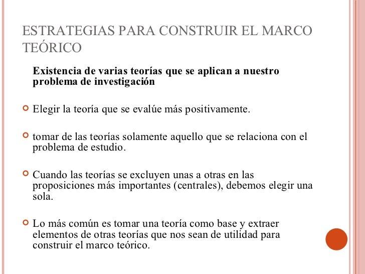 ESTRATEGIAS PARA CONSTRUIR EL MARCO TEÓRICO <ul><li>Existencia de varias teorías que se aplican a nuestro problema de inve...