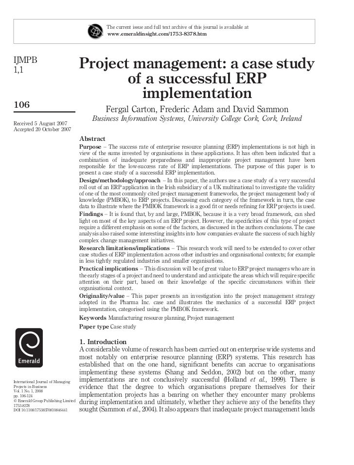 Project management case study example engineering profession.