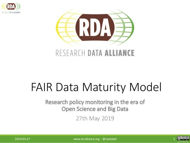 CC BY-SA 4.0 FAIR Data Maturity Model Research policy monitoring in the era of Open Science and Big Data 27th May 2019 201...