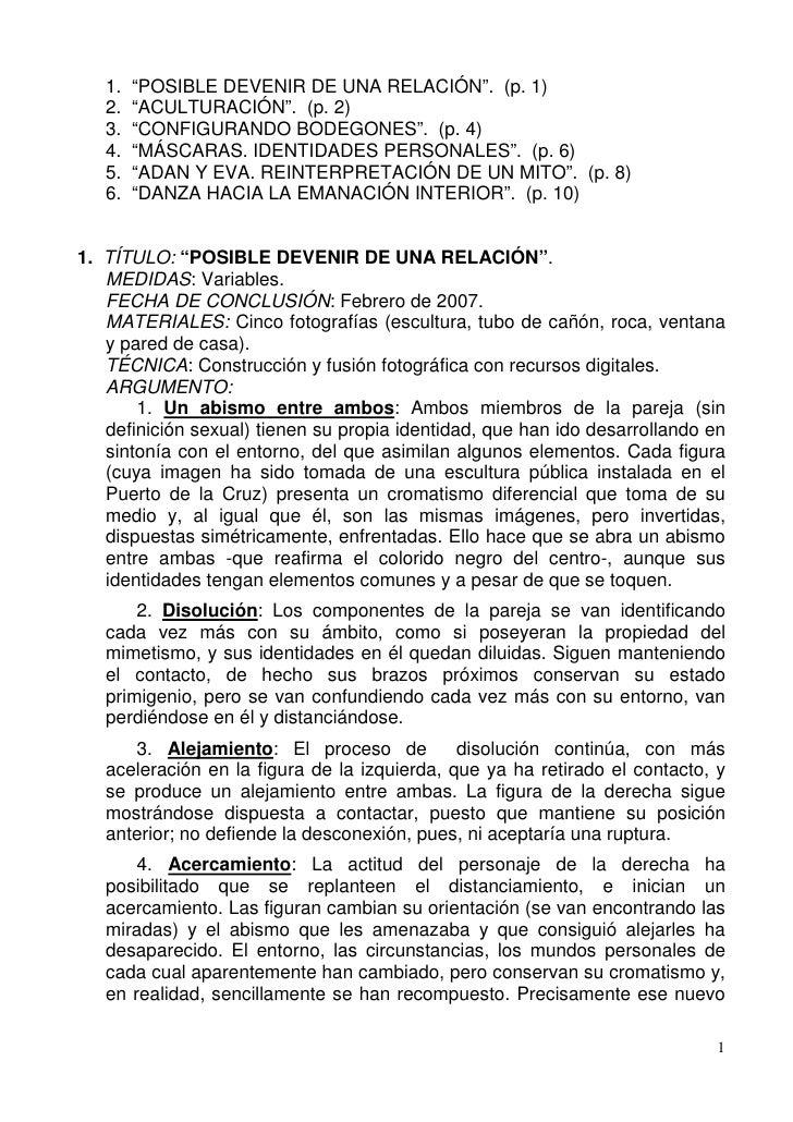 """1.   """"POSIBLE DEVENIR DE UNA RELACIÓN"""". (p. 1)   2.   """"ACULTURACIÓN"""". (p. 2)   3.   """"CONFIGURANDO BODEGONES"""". (p. 4)   4. ..."""
