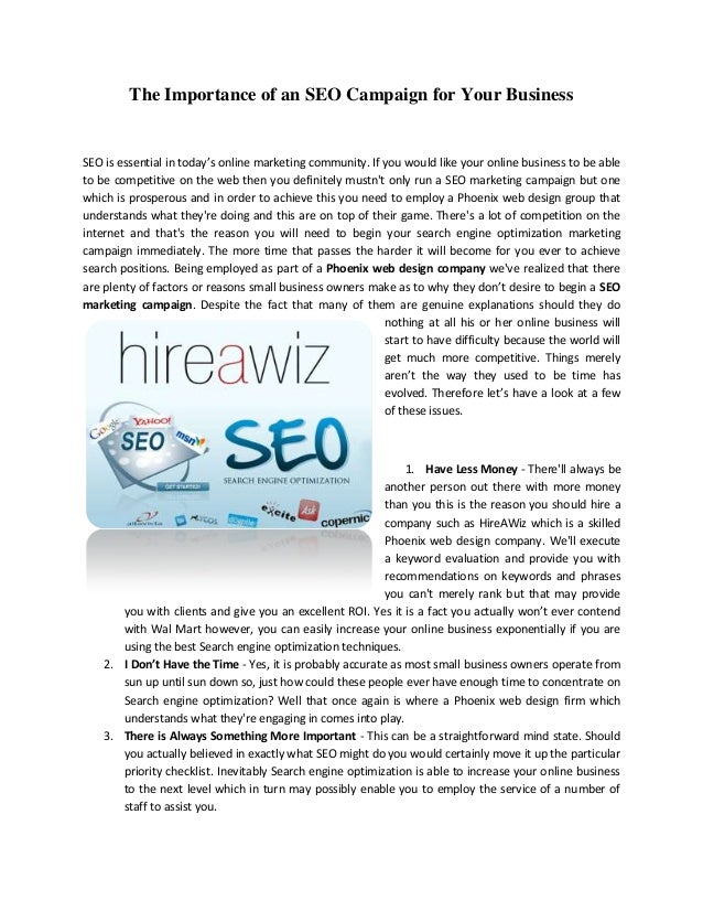 The Importance of an SEO Campaign for Your BusinessSEO is essential in today's online marketing community. If you would li...